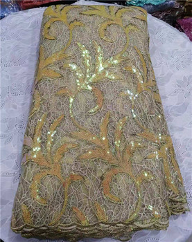 2019 high quality african gold sequins lace fabric French Lace with Sequin in Fabric hot sale african tulle lace for party dress