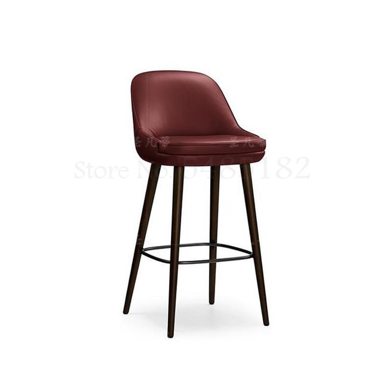 Nordic Solid Wood Light Luxury Bar Chair Modern Fashion Bar Chair High Bar Stool Reception Leather Chair American Bar Chair