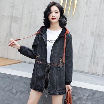 Women's Jean Jacket Fashion Vintage  Loose Washed Hooded Medium-Length  Black Plus Size Denim Casual Coats цена 2017