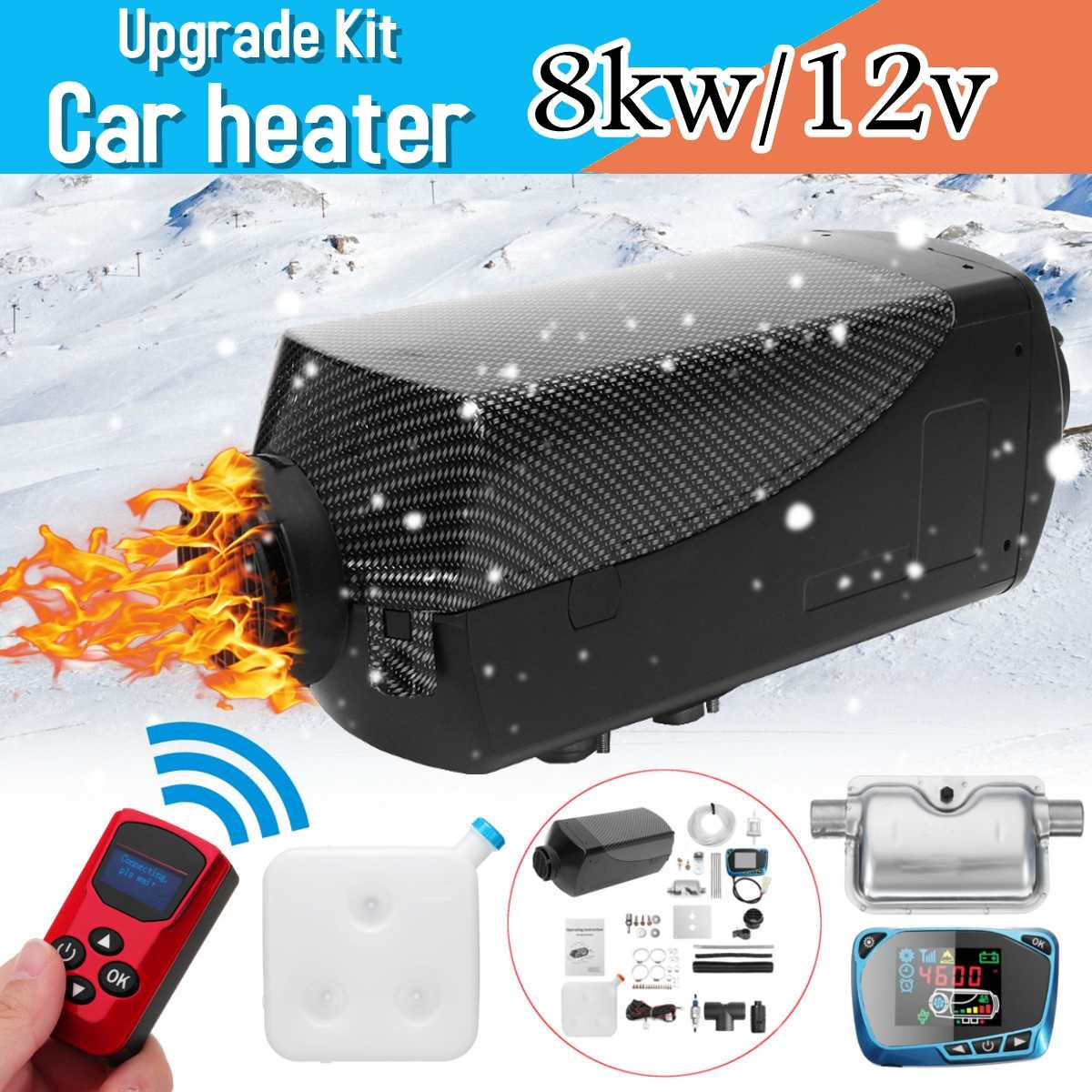 12V 8KW Diesels Air Car Heater Silencer <font><b>15L</b></font> <font><b>Tank</b></font> Car Truck Boat Motorhome Parking With Remote Control LCD Monitor for RV image