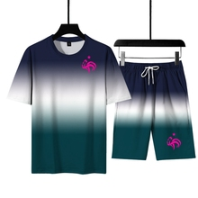 2021 Summer Men s  Sets Gradient 3D Digital Printing Youth Casual T Shirt  Suit  Brands Rooster Sportswear Men s Size  M 6XL