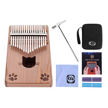Stickers Kalimba Tuning-Hammer Mbira Thumb-Piano Wood Musical Portable 17-Key with Carry-Bag