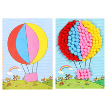 Kids Creative Diy Plush Ball Painting Stickers Children Educational Handmade Toy Children's Fur Ball Painting Pompom Painting(China)