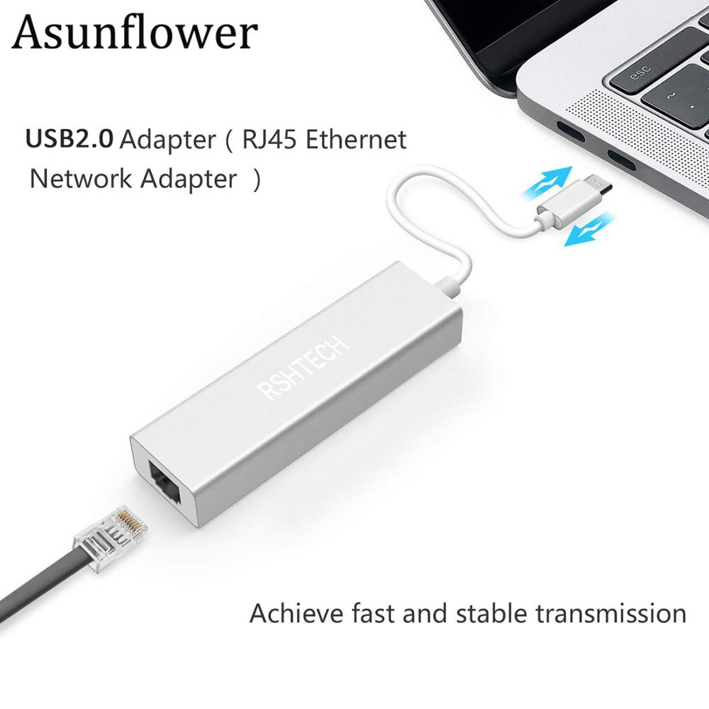Asunflower USB 2.0 To RJ45 Ethernet Adapter Converter For Xiaomi Tablet PC Win 7 8 10 XP USB To RJ45 Lan Adapter 10/100/1000mbps