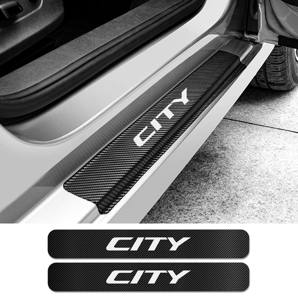 For Honda City 4PCS Car Door Plate Scuff Protection Door Step Decoration Sticker Cover Carbon Fiber Decal Car Tuning Accessories