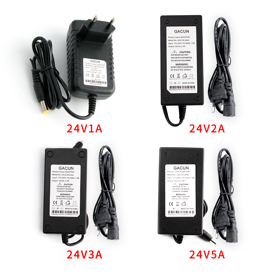 Power <font><b>Adapter</b></font> AC to DC <font><b>24V</b></font> 1A 2A 3A <font><b>5A</b></font> Converter Transformer 24 v Power Supply Charger For LED Strip and logitech racing wheel image