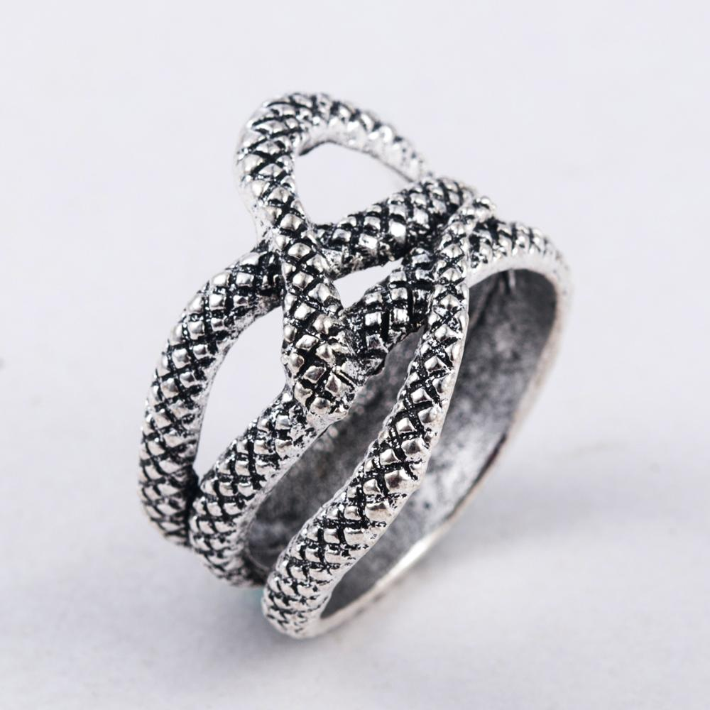 Personality Fashion Modeling Animal Punk Wrapped Wide Finger Ring Gothic Punk Ancient Silver Snake Rings Men Iri Tasli Yuzukler