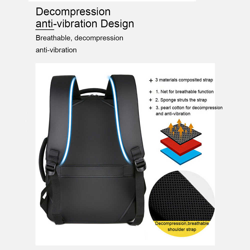 JODIMITTY 15.6 inç dizüstü sırt çantaları erkek erkek iş not defteri Mochila su geçirmez sırt çantası USB şarj çantaları seyahat sırt çantaları