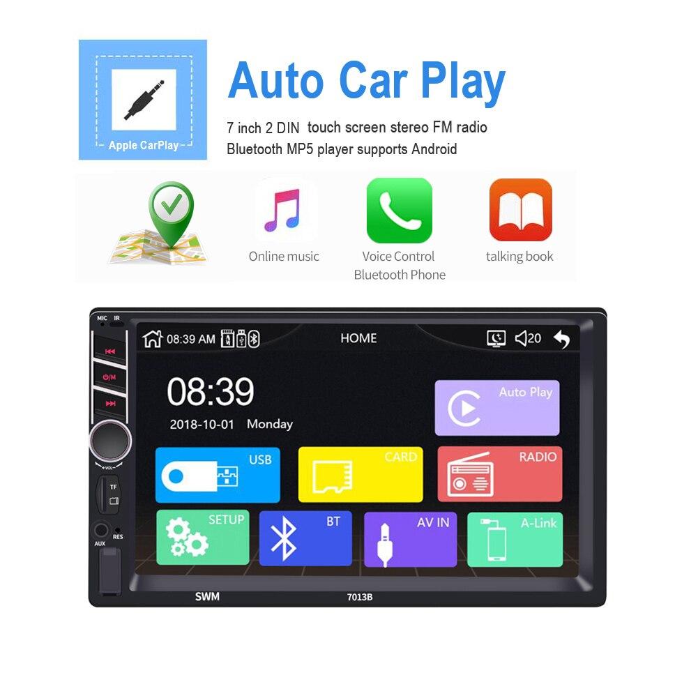 7 дюймов 2 Дина fndroid Apple Carplay автомобильный MP5 плеер FM Радио Bluetooth USB/TF/aux in поддержка для Android/IOS изображение соединение