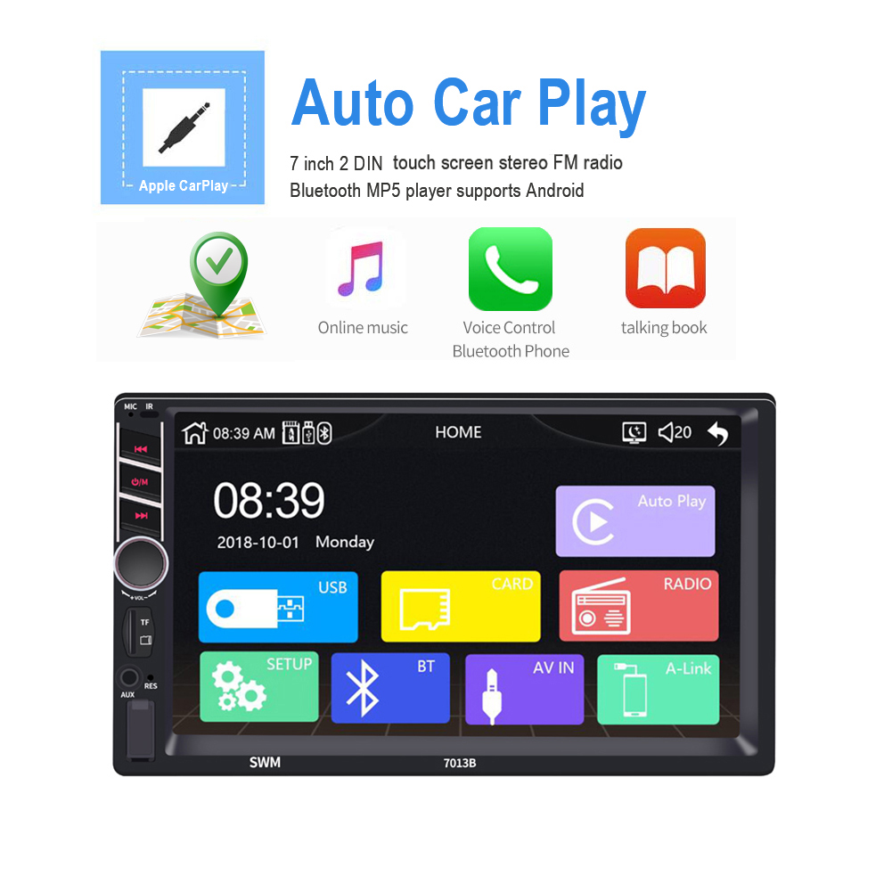7 Inch 2 Din Apple Carplay Car MP5 Player Auto FM Radio Bluetooth USB / TF / AUX IN Supports For Android /IOS Image Connection image