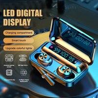 Auriculares TWS con Bluetooth, cascos inalámbricos con cargador de 1200mAh, estéreo 9D, deportivos, con micrófono, novedad