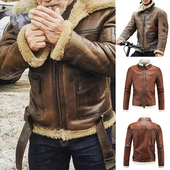Mens PU Leather Outwear Turndown Collar Motorcycle Coat Biker Style for Fall Winter Warm Coat NYZ Shop