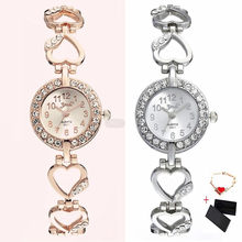 New Women's Peach Heart Bracelet Quartz Watch Small Full Diamond Fashion Ladies Watch Waterproof Dress Woman Watch Reloj Mujer(China)