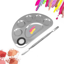 Stainless Steel 6 Holes Makeup Palette Nail Art Polish Mixing Plate Cosmetic Artist Mixing Palette for Mixing Foundation