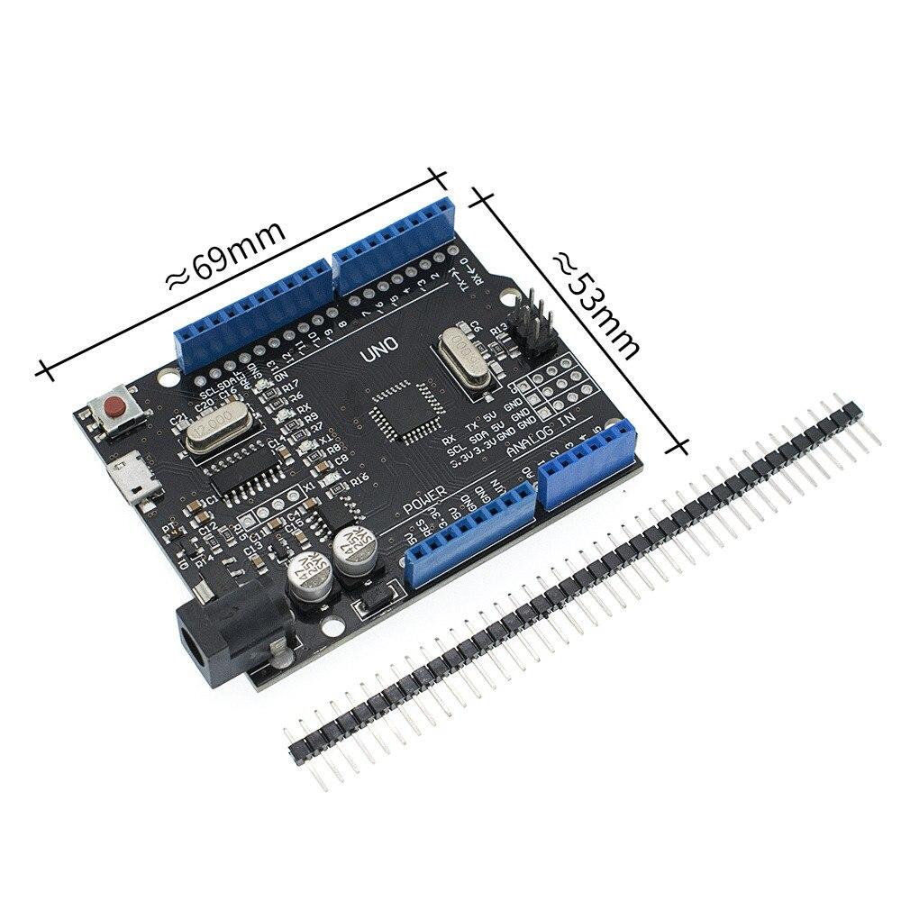 10 шт. синий/красный/черный 2,4 TFT Модуль UNO R3 макетная плата с CH340 ATMEGA328 USB кабель для Arduino - Цвет: UNO Black