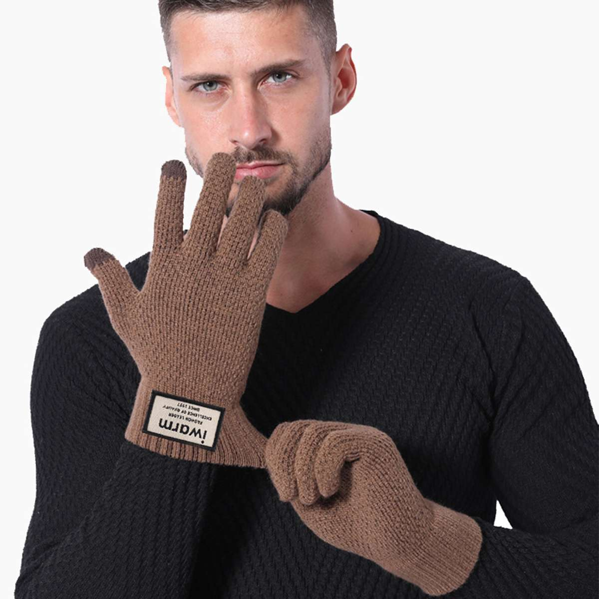 Winter Autumn Warm Men Male Knitted Gloves Winter Warm Thick Touch Screen Gloves Solid Mittens for Smart Mobile Phone Tablet Pad