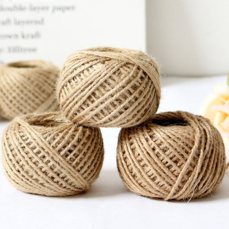 30m Natural Burlap Hessian Rope Jute Twine Cord Hemp String Gift Bottle Packing Wedding Thread DIY Scrapbooking Craft Decor