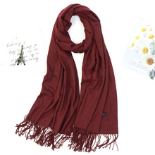 Sciarpe invernali moda donna tinta unita scialle nappa spessa sciarpa Hijab vino rosso grigio cachi collo caldo avvolgere Bandana Pashmina