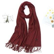 Women Solid Color Fashion Winter Scarf Shawl Thick Tassel Hijab Scarf Wine Red Gray Khaki Warm Neck WrapsLady Pashmina Bandana