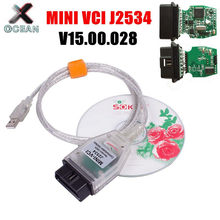 Mini vci j2534 para toyota tis techstream v15.00.028 obd2 cabo de diagnóstico minivci ftdi ft232rl ft232rq MINI-VCI interface scanne