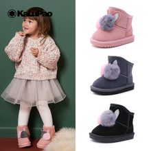 цены на Kalupao Girl Shoe Winter Girls Boots Pink Rabbit Rubber Boot with Fur Kids Genuine Leather Flat with Ankle Boots Boots for Girls  в интернет-магазинах