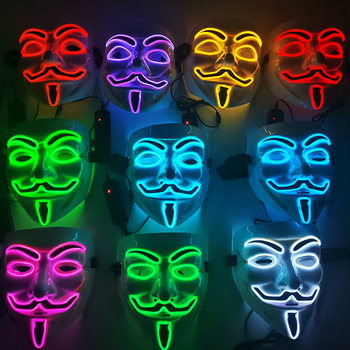 Halloween LED Party Mask Vibrato V-shaped Ghost Face Clown Graffiti Glowing Mask DJ Party Mask Light Up Mask Fashion Cosplay 2020 hot sales fashion led mask luminous glowing halloween party mask neon el mask halloween cosplay mask mascara horror maska