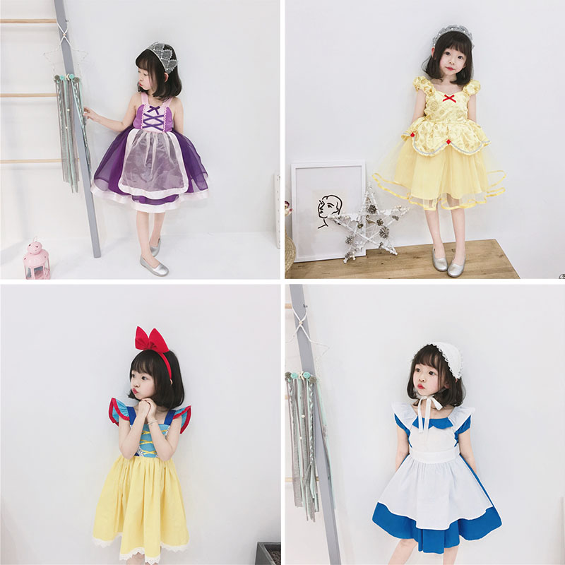 2019 Toddler Girls Halloween Masquerade Dress High Quality Children Princess Tutu Dress Baby Fancy Tutu Beautiful Sling Dresses