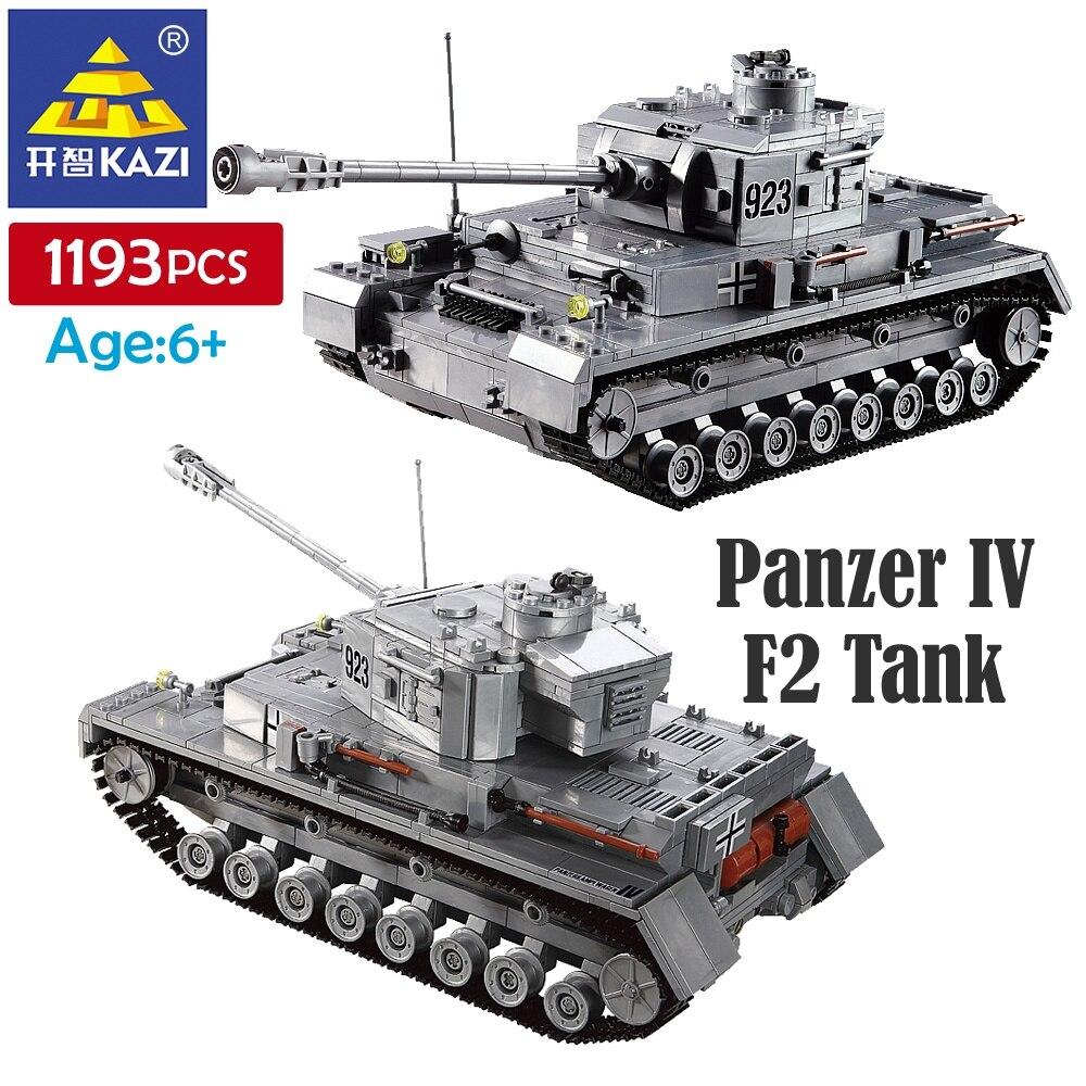 KAZI 1193 шт Строительные блоки Panzer IV F2 модель танка строительный блок игрушка детский подарок для мальчика модульные пластиковые строительные...