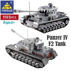 Kazi 1193 pçs blocos de construção panzer iv f2 tanque modelo bloco construção brinquedos crianças presentes para o menino abs plástico construir tijolos kits