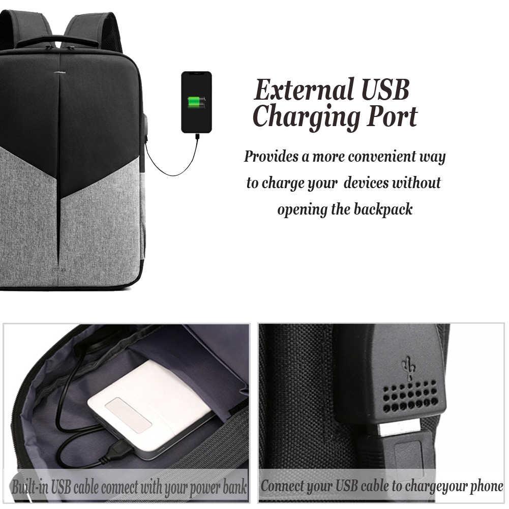 2020 nowy modny plecak na laptopa mężczyzna na zewnątrz podróży torba na komputer męski plecak z port ładowania usb tornister