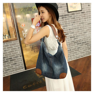 Image 5 - אופנה נשים סיבתי שקיות גבירותיי ינס תיק גדול כתף שקיות כחול ג ינס Tote Mujer Bolsa חמוד מעצב נשי גדול בציר