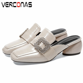 VERCONAS  2020 Mules Woman Sandals Woman Pumps Brand Design Genuine Leather Rhinestone Square Toe Round High Heeled Shoes Woman