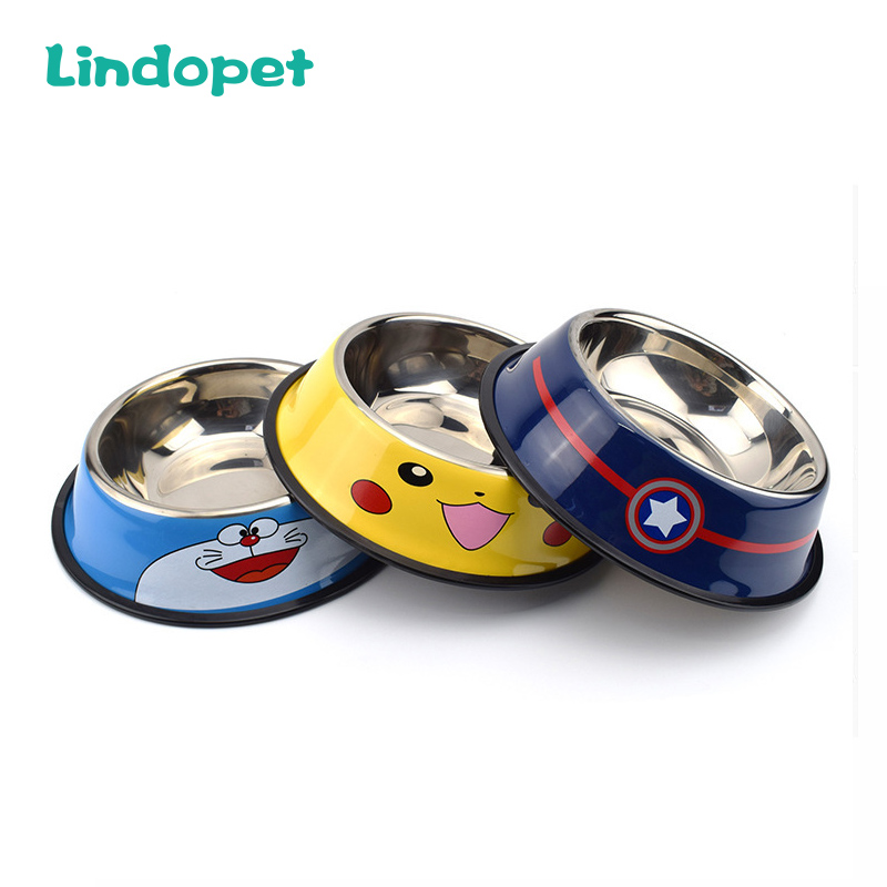Pet Tableware Panda Bowl Cat Cartoon Stainless Steel Dog Pot Bowl Pet Feeder Gamelle Chien Water Bottle Food