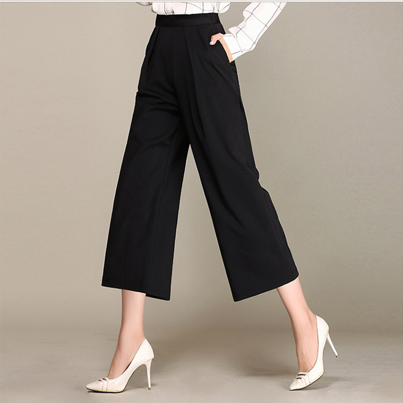 Korean Version Of Elastic Nine-point Wide Leg Pants Trousers  Women Loose Straight Trousers Loose High Waist Casual Pants Women