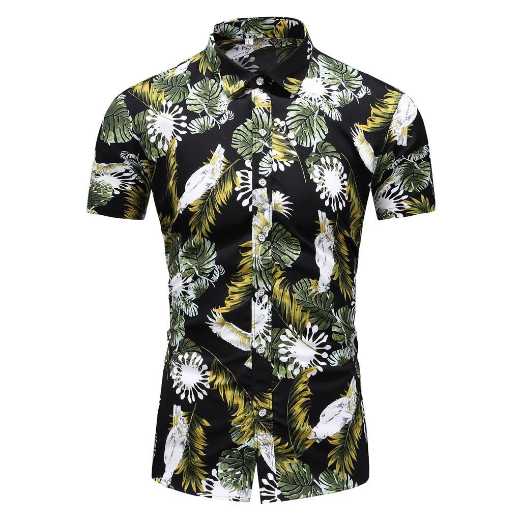 Men Shirt Summer Style  Print Beach Hawaiian Shirt Men Casual Short Sleeve Hawaii Shirt Chemise Homme Asian Size 6XL Mar27