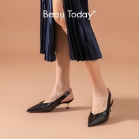 BeauToday Pumps Women Patent Leather Elastic Band Pointed Toe Ladies Mid Heel Sandals Summer Shoes Handmade 31076