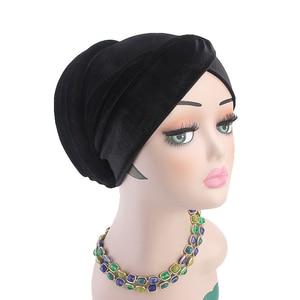 Image 3 - Women Velvet Muslim Cap Turban Headscarf With Pearl Middle East Bandanas Hijab India Cap Autumn Winter Head Wrap Long Tail