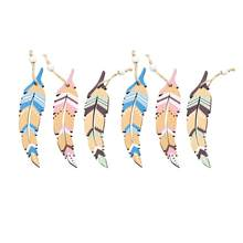6Pcs Wooden Feather Pendants Delicate Unique Creative Nordic Style Hanging Ornaments Wall Door Hanging Pendants for Cafe Home(China)