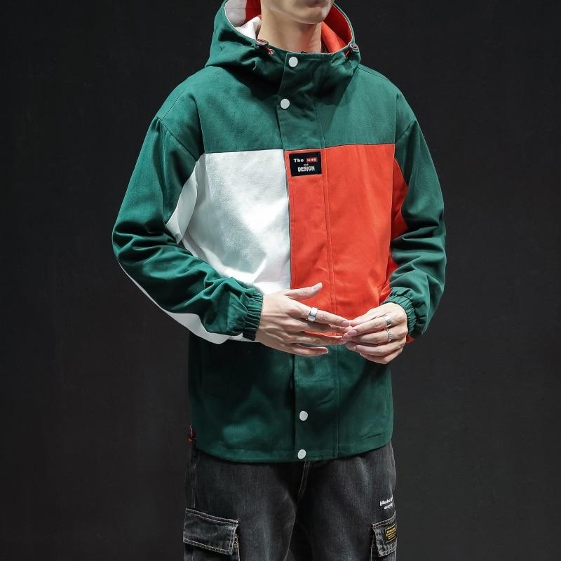 2021 Man New Windbreaker Jackets Mens Harajuku Zipper Hat Jackets Male Streetwear Patchwork Oversize Casual Jacket Clothes