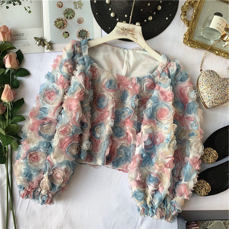 Elegant Fairy Colorful Flower Three-dimensional Mesh Lantern Sleeve Shirt Girls Ladies Holiday Blouse Womens Tops And Blouses