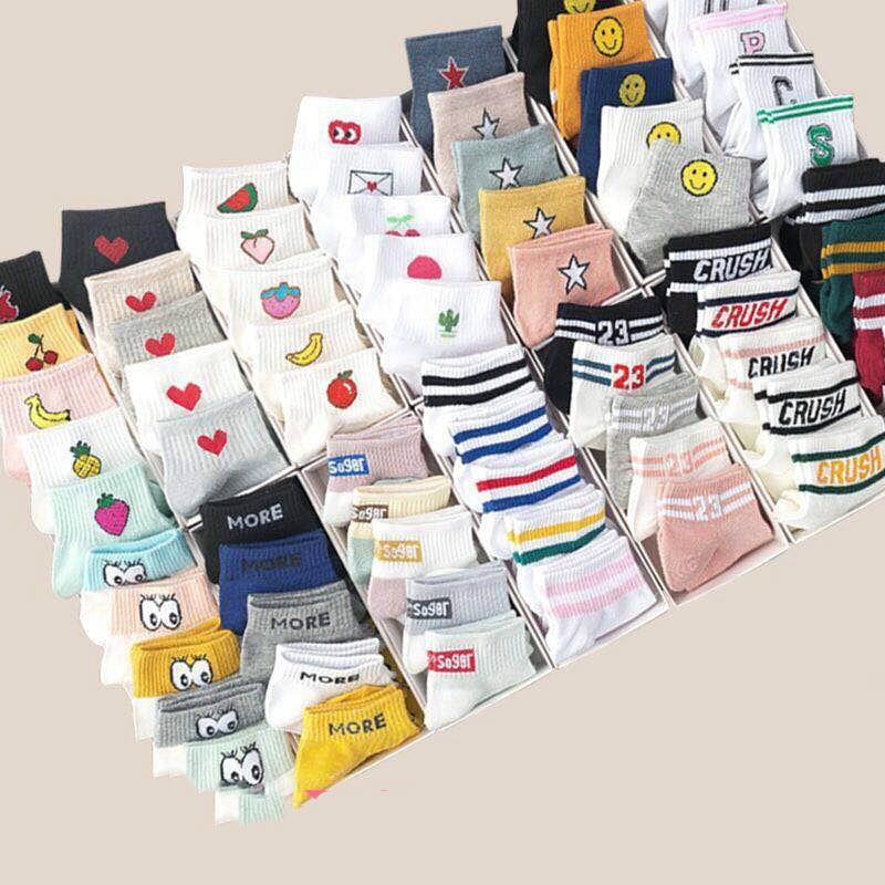 10 Pieces = 5 Pairs Of Cute Fruit Pattern Girls Ankle Socks Korean Ladies Style Fashion Short Socks Happy Rainbow Striped Socks