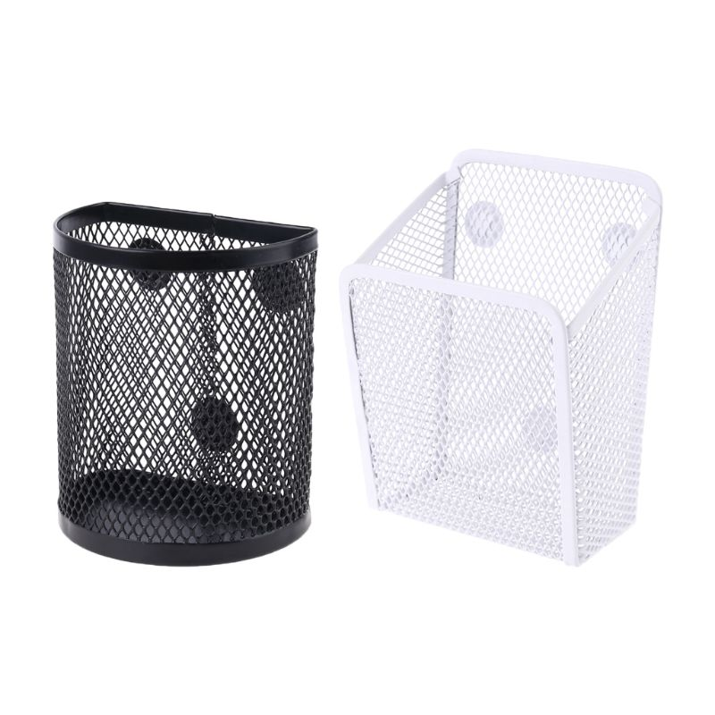 Metal Wire Mesh Magnetic Basket Storage Box Pen Pencil Makeup Organizer Kitchen W91A