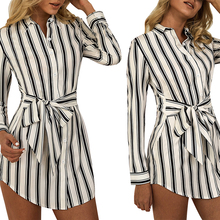 2019 Autumn Summer Dress Casual Striped Print Long Sleeve Dress Vestidos De Verano Women Lapels Button Tie Irregular Shirt Dress foliage print self tie shirt dress