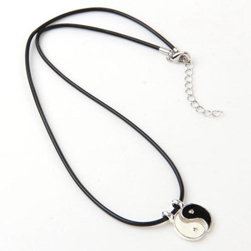 """Yin Yang Collar Colgante con Cadena Cordón Negro Plata Metal de color 16/"""" Hombres Regalo"""