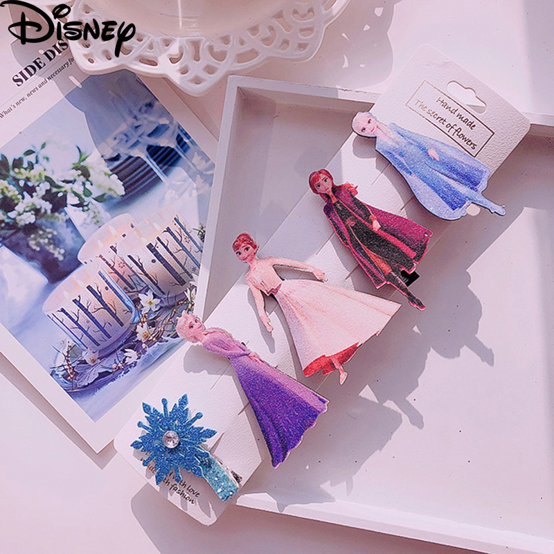 Children Frozen 2 Hair Pin Fashion Kids Hair Accessories Elsa Anna Princess Hair Clips Pink Twinkly Gift Set For Birthday Party