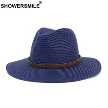 SHOWERSMILE Women Summer Hats for Beach Woman Beautiful Navy Solid Straw Sun Hats Female Panama Hats Male Jazz Hat 7cm Wide Brim sun hats modis m181a00735 man summer hat for famale beach for male tmallfs