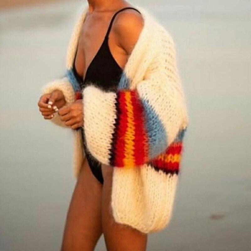 Винтажный полосатый контрастный женский свитер кардиган осень 2020 круглый вырез длинный рукав мохер свитер повседневная уличная одежда для...