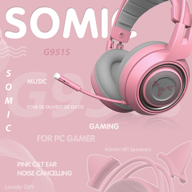 SOMIC G951S Pink gaming Headphones Virtual 7.1 Noise Cancelling Wired Gaming Vibration 3.5mm Headset with Mic for PC Gamer