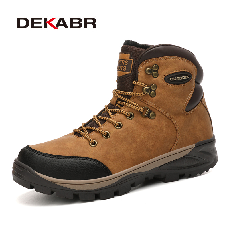 DEKABR Split Leather Men Waterproof Boots Men Casual Shoes Fashion Ankle Boots For Men High Top Outdoor Winter Men Boots