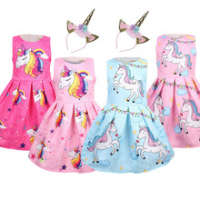 New Sleeveless Unicorn Little Girls Dresses Party Rainbow Kids Dresses for Girls Toddler Girl Princess Christmas Dress Clothes(China)